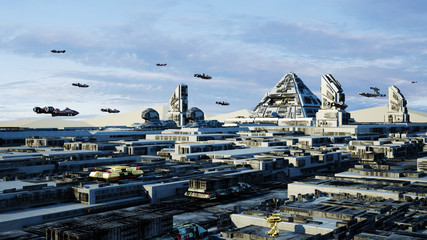 Concept Cairo Egypt Scifi Cityscape transport airship from the future