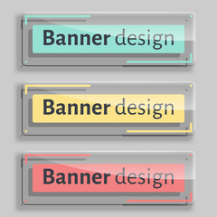 Set of three realistic abstract transparent banners