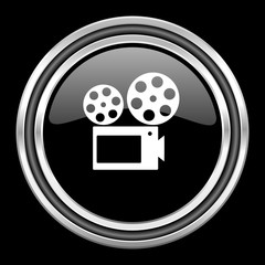movie silver chrome metallic round web icon on black background