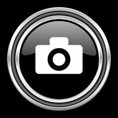camera silver chrome metallic round web icon on black background