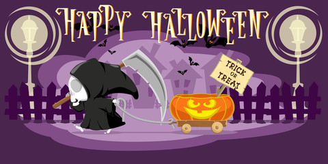 Funny little death with a large scythe driving small cart with Halloween pumpkin on the street of the town. Cartoon style. Concept design for banners, posters or cards. Vector illustration
