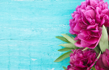 Red peony flower on turquoise rustic wooden background