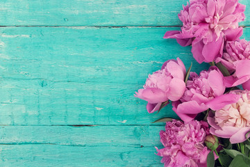 Bouquet of pink peony flowers on turquoise rustic wooden background
