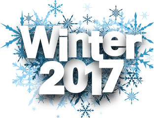 Winter 2017 background with snowflakes.