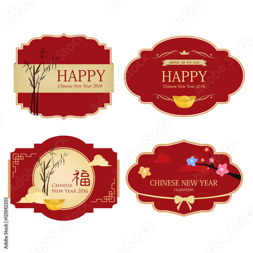 set of chinese new year design elements chinese label