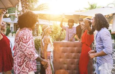 People dancing and having fun while dj playing good music