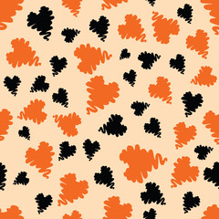 Halloween holiday design with orange and black grunge abstract hearts elements.