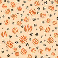 Halloween holiday design with orange and black grunge abstract round elements.