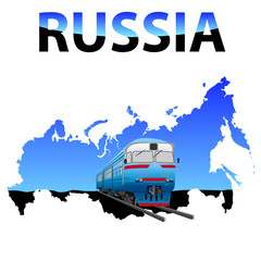 vector train on the map Russia