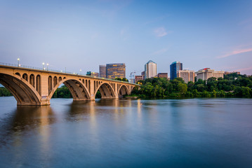The Key Bridge over the Potomac River and Rosslyn skyline, seen
