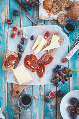 Antipasti and fruit concept.