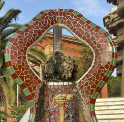 fountain Park Guell in Barcelona. Barcelona - Spain