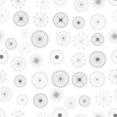 Set of Starbursts Symbols Seamless Pattern on White Background