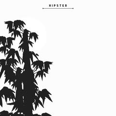 Bamboo tree silhouette card design, vector illustration.