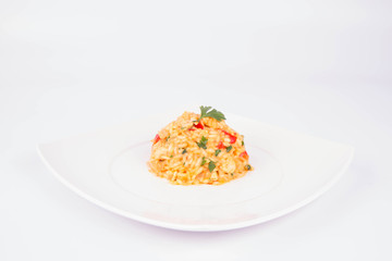 Risotto with chicken, tomatoes, bell pepper, onion and garlic on a white plate decorated with parsley