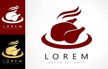 Roast chicken sign icon. Hen bird meat logo.