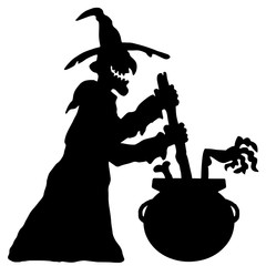 vector scary halloween witch with boiler