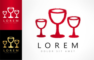 wine glasses vector logo