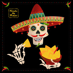 Cinco de Mayo. Smiling Mexican skull with jalapeno pepper mustache in sombrero eating nachos. Mexican tradition.