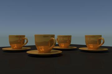 3D-Rendering von vier goldenen Kaffeetassen mit Untertasse auf einem dunklen, spiegelnden Tisch