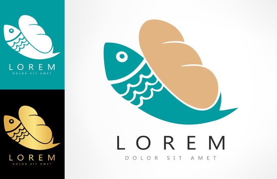 Loaves And Fish symbol. Vector illustration.