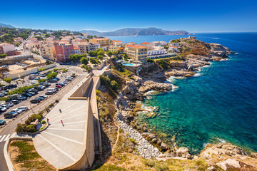Beautiful Corsica coastline and historic houses in Calvi