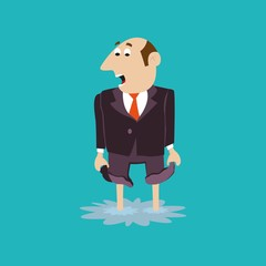 businessman standing in a puddle. trouble. vector illustration of cartoon