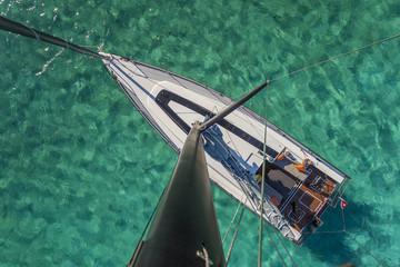 Luftaufnahme: Segelboot, ankernd auf türkisem Wasser