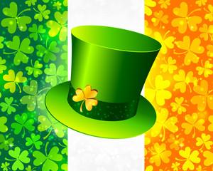 Saint Patrick's hat on Irish flag