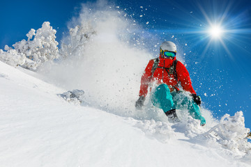 Skier skiing downhill in high mountains Wall mural