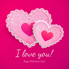 Valentine's day lacy hearts greeting card