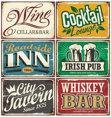 Vintage tin signs collection with various drinks and beverages themes