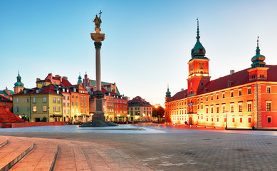 Warsaw, Old town square at night, Poland, nobody