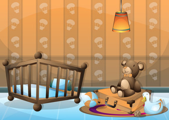 cartoon vector illustration interior kid room with separated layers in 2d graphic