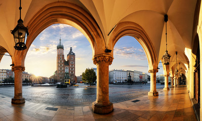 Krakow at sunrise, Poland. Wall mural