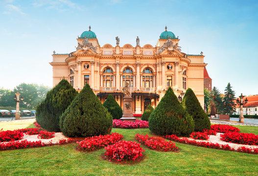 Slowackiego theater in summer time in Krakow