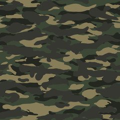 Seamless wide fashion woodland camo pattern vector