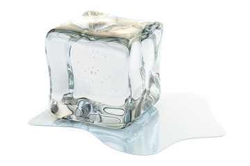 Ice Cube Melting, 3D rendering