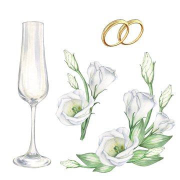 Bridal set white with flowers, wedding rings and glasses for champagne. To design cards, invitations, and posters. Watercolor painting. Handmade drawing.