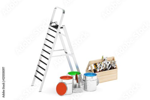 Ladder paints tools repair concept 3d rendering Online rendering tool