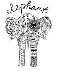 elephant, zentangle, hand drawn illustration, vector