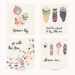 Postcard design with inspirational quote and bohemian colorful f
