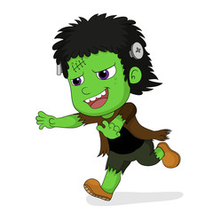 Happy Halloween.Cute frankenstein in halloween.