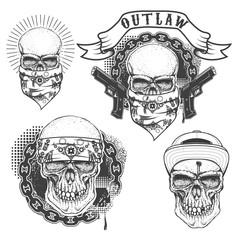 Set of gangster tattoo. Hand drawn skull with bandana. Skull in