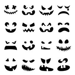 Scary Halloween pumpkin faces set