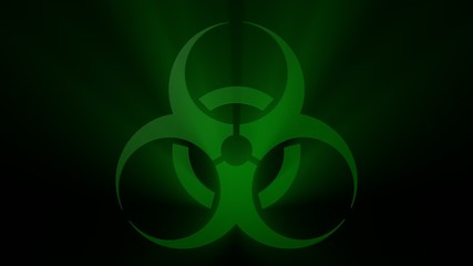 Green Biohazard Sign on Black
