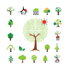 house and tree symbol set