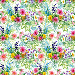Beautiful Watercolor Summer Garden Blooming Flowers Seamless Pattern