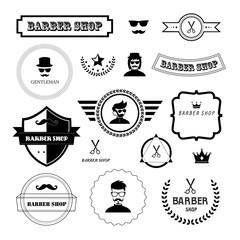 Set of vintage barber badges and labels