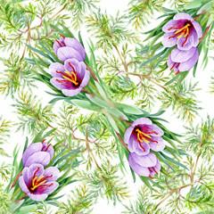 Beautiful Watercolor Summer Garden Blooming Flowers Seamless Pattern